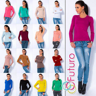 Ladies Casual Top Scoop Neck Stretch Jumper Long Sleeve T-Shirt Size 8-12 FT546