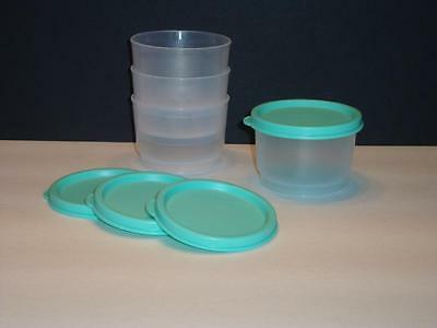 Tupperware Snack Cups 4pc Containers w/ Liquid Tight Mint Green Seals 2oz NEW