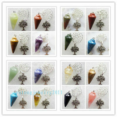 Wholesale Mixed Stone Pendulum Tibet Silver Tree Pendant Bead MM862
