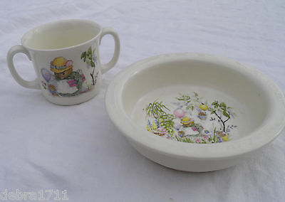 ROYAL KENT 2 pc Bone China Child's Bowl & Cup, Mouse party Vintage, never used