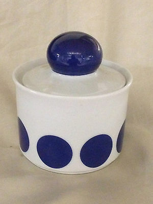 SCHIRNDING BAVARIA GERMANY SUGAR BOWL & LID BLUE CIRCLES DOT ON WHITE BACKGROUND