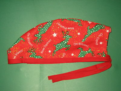 Surgical Scrub Hats caps Christmas Green Reindeer with sparkles