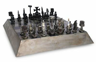 Metal Chess Set Recycled Auto Parts Handmade 'Rustic Pyramid' NOVICA Mexico
