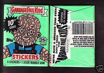 1987 Garbage Pail Kids Origlnal Series 10 Wax Pack (x1) From Box!