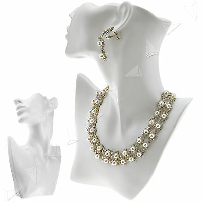 White Jewelry Chain Pendant Earring Shop Bust Stand Display Holder