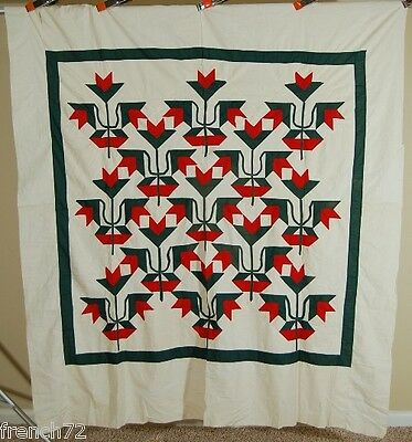 1880's Vintage Carolina Lily Antique Quilt ~VIBRANT TURKEY RED & GREEN COLORS!
