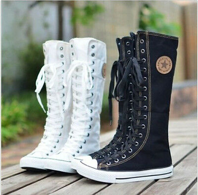 EMO Gothic PUNK Women Rock Boot Girls Shoes Sneaker Knee High Zip Laces Up Sz