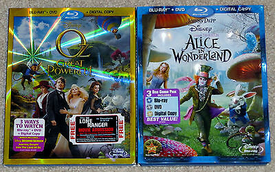 Disney Blu-ray DVD Lot - Alice in Wonderland (Used) OZ The Great and Powerful