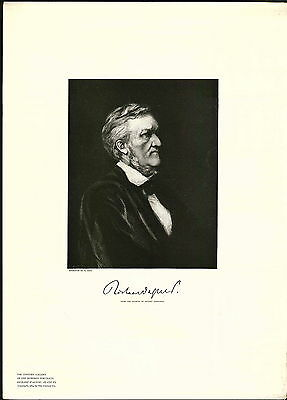 1897 Historic Portrait Book Plate Richard Wagner German Composer Conductor