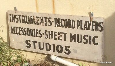 Antique Wood Sign Music Studios Instruments Hand Painted Folk Art Advertising