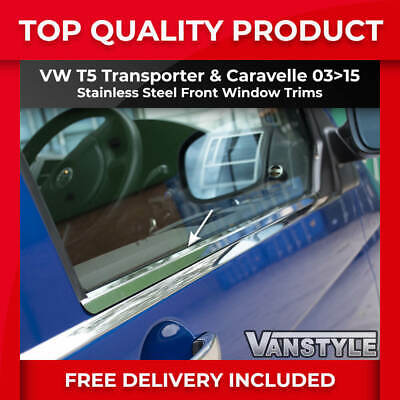 Vw T5 Transporter Front Window Trim Set Of 2 Polished Stainless Steel Chrome Van