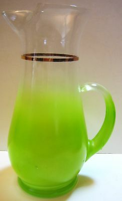 West Virgina Glass Pitcher Lime Flash Glass 5 Cups