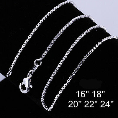"""925 Sterling Silver Women Men 1mm 2mm Box Chain Necklace Simple Style 16""""-24"""""""