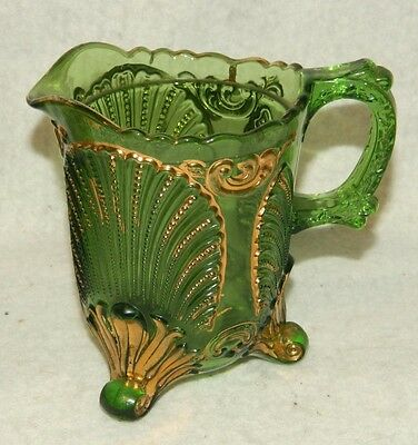 McKee Shell & Scroll Geneva Green w Gold Creamer circa 1900 EAPG National Glass