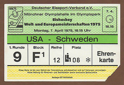 Orig.Ticket   Icehockey World Championship`s Germany 1975   SWEDEN - USA  !!