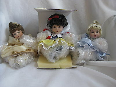 Rare Htf Marie Osmond Disney Belle Cinderella Snow White Tots 3 Dolls Set Mib