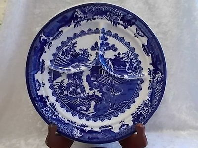 Pair of Vintage Blue Transfer Shenango China Divided Ironstone Plates