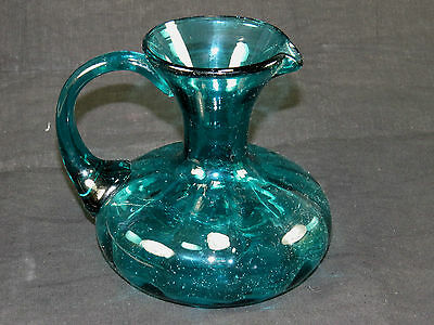 Vintage Blenko Art Glass Ewer-Pitcher,Blue Hand Blown,Pontil Bottom