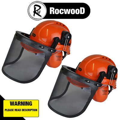 2 Rocwood Chainsaw Forestry Safety Helmet C/W Metal Mesh Visor Chin Strap