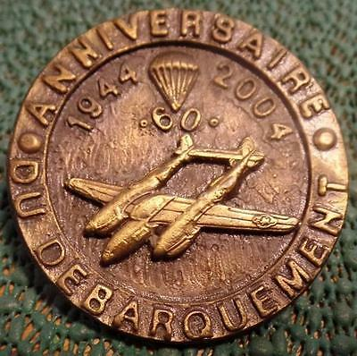 """2004 RARE 2"""" IN FRENCH 60th ANNIVERSARY NORMANDY INVASION MEDAL NORMANDIE VGC"""