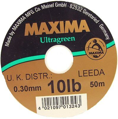 Maxima NEW Ultra-Green Monofil Fly Fishing Leader Material 50m