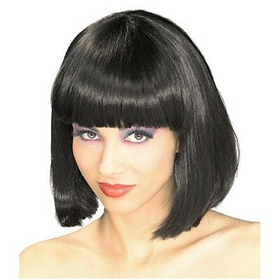 Black Bob Cut Fancy Dress Hair Wig Stag Do Party Costume Novelty Wigs Cosplay UK