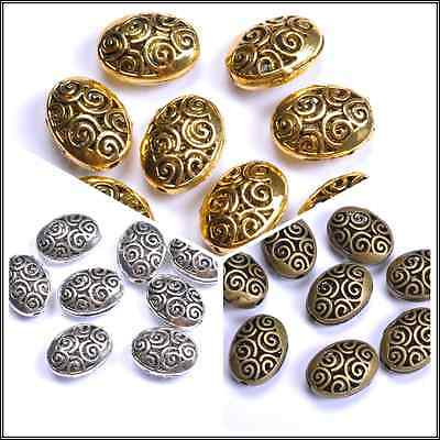 10pcs Tibetan Silver Ellipse Shaped Hollow Spacer Beads For Jewellry 18MM JK0024