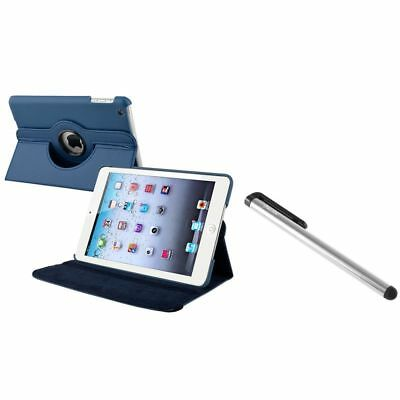 Navy Blue 360 Rotating Leather Case+Silver LCD Stylus for Apple iPad Mini