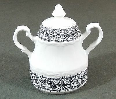 J & G Meakin Ironstone Sterling Colonial Black Renaissance Covered Sugar Bowl