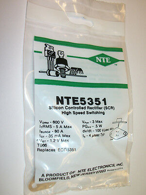 NTE5351 - Silicon Controlled Rectifier SCR High Speed Switching 600V 5 Amp TO66