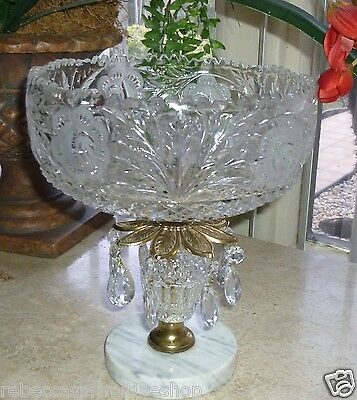 CATCO Compote Crystal Centerpiece Cut Glass Etched Brass Marble Prisms Italy