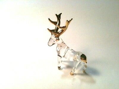 Small Beautiful Hand Blown Glass Reindeer Figurine 12K Gold Highlights - Elk