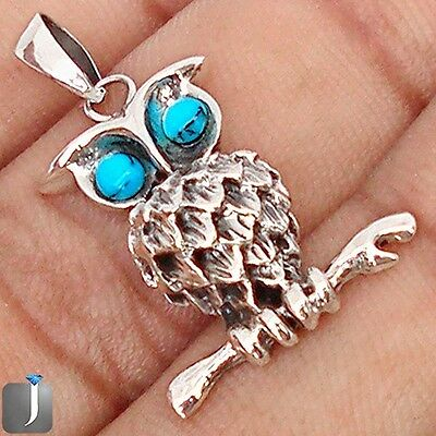 0.94cts NATURAL BLUE TURQUOISE 925 STERLING SILVER OWL PENDANT JEWELRY E65060