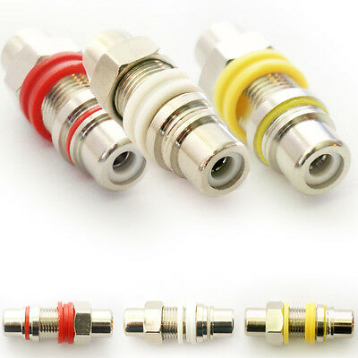 Red, White, Yellow RCA/Phono Socket Panel Mount Chassis Adapters/Connector Wall