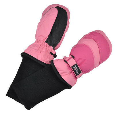 SnowStoppers Extra-Long Cuff Nylon Mittens for Ages 1-12 ~ Two-Tone Colors