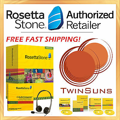 New Rosetta Stone® FRENCH Level 1 Homeschool Software+ Audio Companion + Headset