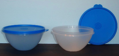 Tupperware Wonderlier Bowls Set of 2 - Clear Bases 2 Cup Size & Blue Seals New