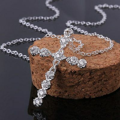 hot 925 women Silver Fashion wedding party crystal Cross Necklace jewelry N668
