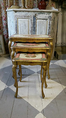 OLD VINTAGE FRENCH NEST OF THREE FLORENTINE STYLE TABLES  - VINTAGE LIVING