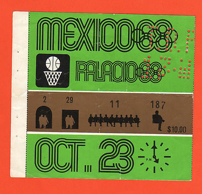 Orig.Ticket   Olympic Games Mexico 1968  -  BASKETBALL 23.10.1968  !!  VERY RARE