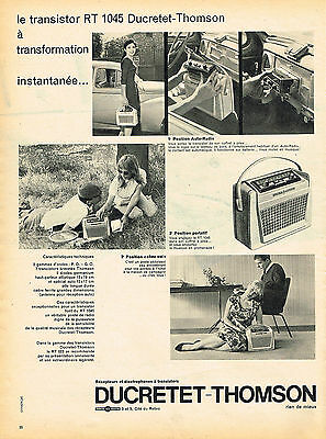 PUBLICITE ADVERTISING 124  1959  DUCRETET-THOMSON   transistor  RT 1045