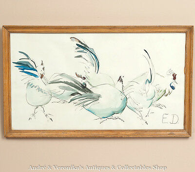 Vintage Large Pen & Ink Watercolour of CHICKENS Original Art Drawing Pine Frame