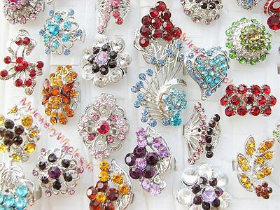 wholesale fashion jewelry lot 5 pieces crystal zircon silver rings rhinestone