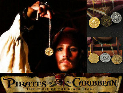Hot Film Pirate of the Caribbean Aztec Metal Coin Pendant Necklace Chain Jewelry