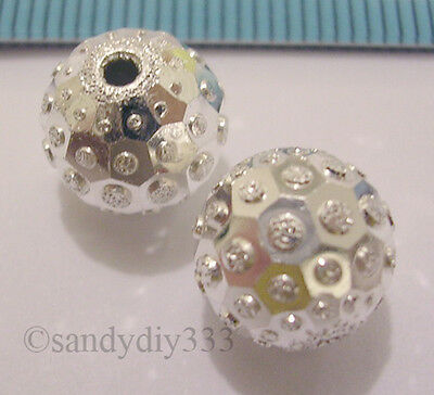 1x ITALIAN STERLING SILVER LASER STARDUST ROUND SPACER BEAD 8mm N544A