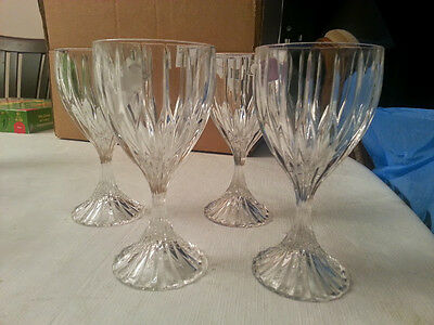 """4 Mikasa Park Lane Crystal Wine Glasses 6 3/4"""" Great Condition!"""