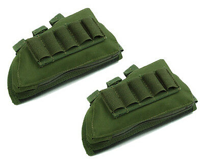 2 pcs Airsoft Military Rifle Stock Ammo Pouch w/ Cheek Leather Pad Olive Drab