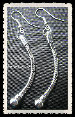 Free 2pcs Handcrafted Snake Chain Jewelry Design silver plate beads Earrings