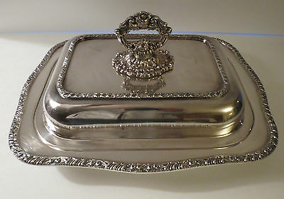 Fine Antique Lg. Silverplate Covered Entree Dish with Removable Handle Henley