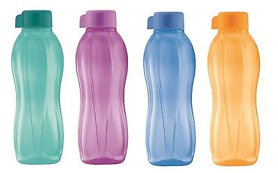 Tupperware 4x H20 On The Go Eco Sports Water Drink Bottles 750ml Screw Cap